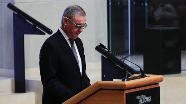 European Union Ambassador to the United States David O'Sullivan delivers remarks during a ceremony to commemorate International Holocaust Remembrance...