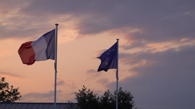 european union and french flag in wind - 1955 stock videos & royalty-free footage