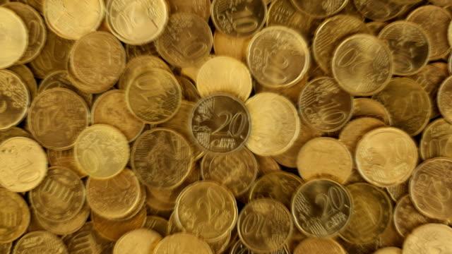 vídeos de stock e filmes b-roll de 4k european union coins animation -loopable - european union coin