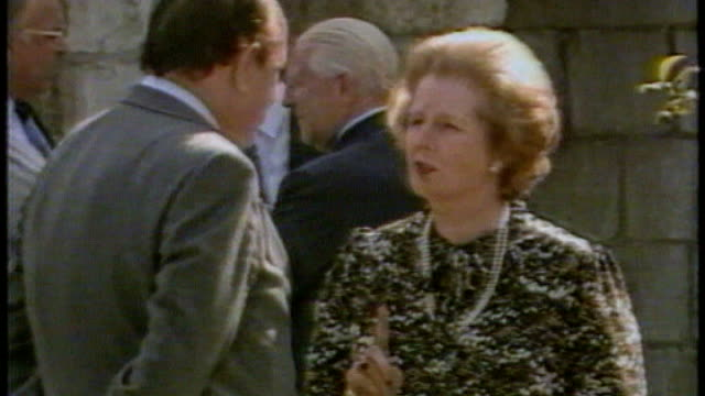 european union demands extra 17 billion pound payment from britain as250684016 / june 1984 fontainebleau margaret thatcher mp and geoffrey howe mp... - persuasion stock videos and b-roll footage