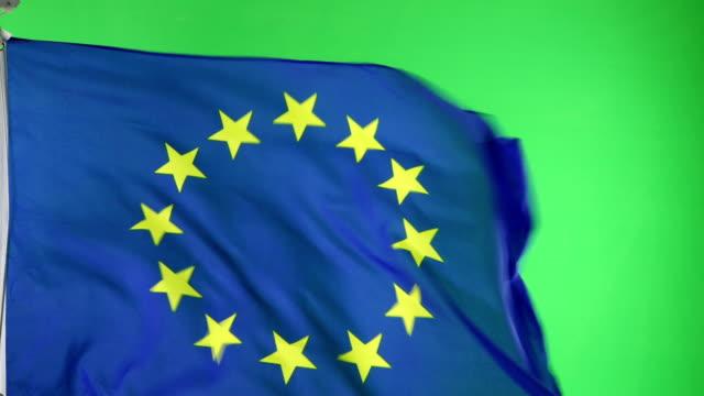 4K: EU EU-Flagge auf grünen Bildschirm nicht CGI