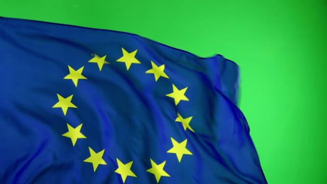 Europäische Union EU-Flagge auf green-Screen, Super-Slow-Motion