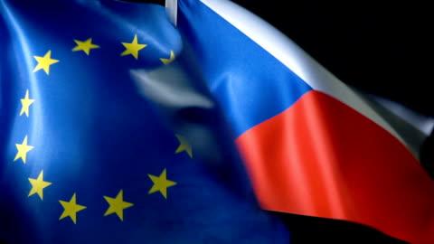 european union flag and czech flag - czech republic stock videos & royalty-free footage
