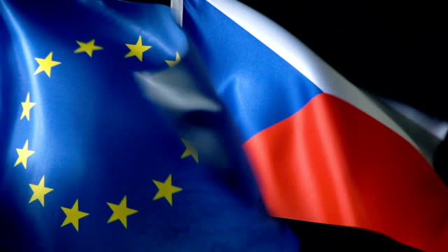 european union flag and czech flag - czech republic stock videos & royalty-free footage