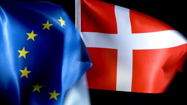 european union flag and danish flag - danish flag stock videos and b-roll footage