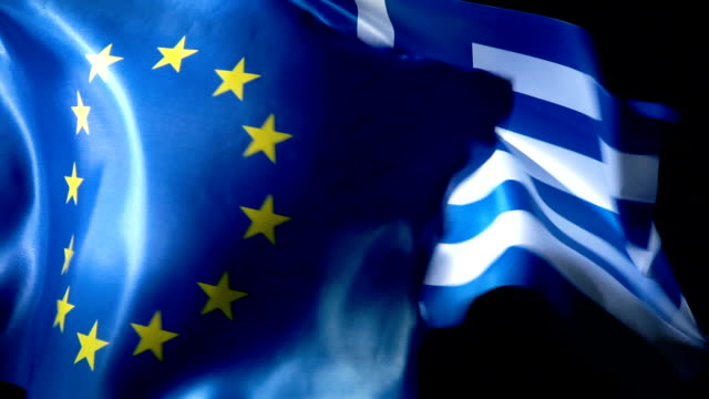 european union flag and greek flag - greek flag stock videos & royalty-free footage