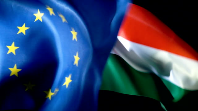 European Union Flag and Hungarian Flag