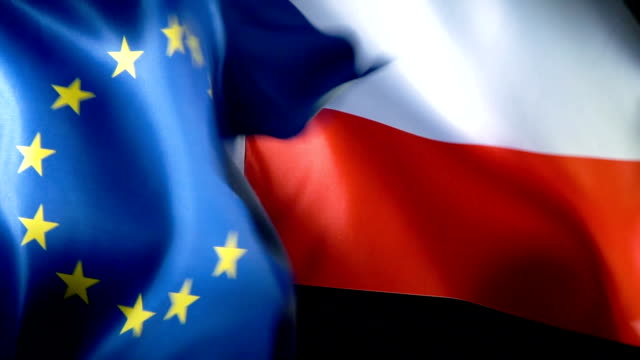 European Union Flag and Polish Flag