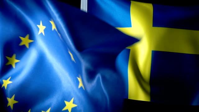european union flag and swedish flag - eu flag stock videos & royalty-free footage