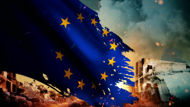 4k european union flag - crisis / war / fire (loop) - smoke physical structure stock videos & royalty-free footage