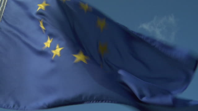 CU, ZO, LA, European Union flag flapping against clear sky