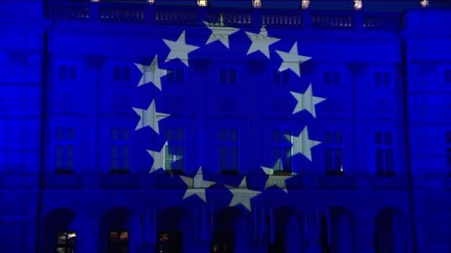 european union flag illumination on presidential palace in warsaw - modern art stock videos & royalty-free footage