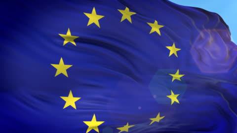 european union flag - slow motion - 4k resolution - national flag stock videos & royalty-free footage