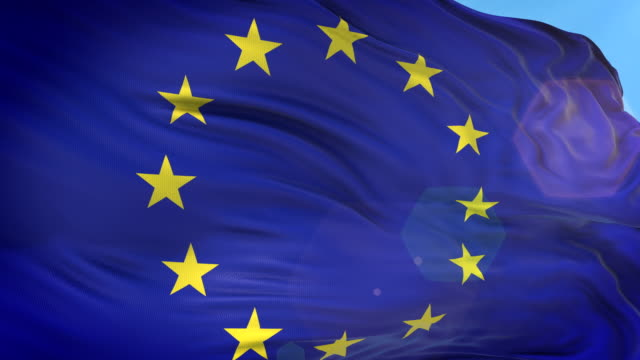 vídeos de stock e filmes b-roll de european union flag - slow motion - 4k resolution - europa locais geográficos