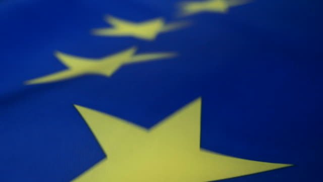 slo mo cu european union flag - euro symbol stock videos and b-roll footage