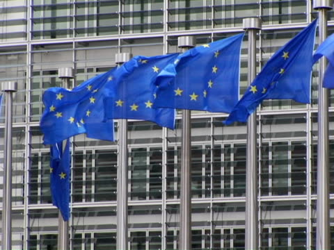 ms, european union flags flapping in front of building, brussels, belgium - eu flag stock videos & royalty-free footage