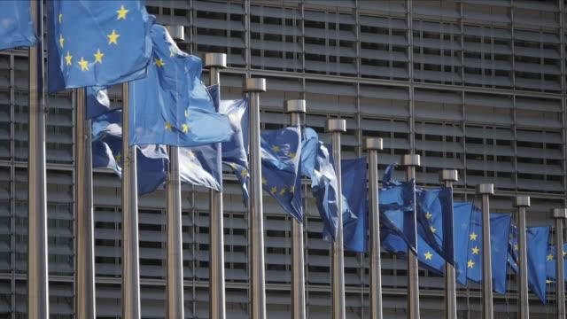 european union flags slow motion - 欧州連合旗点の映像素材/bロール