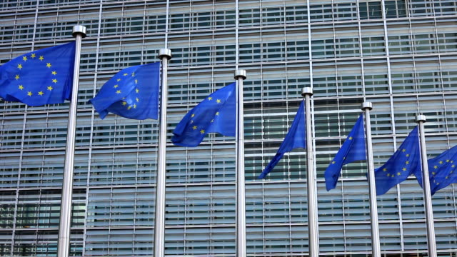 europäische union flaggen - region brüssel hauptstadt stock-videos und b-roll-filmmaterial