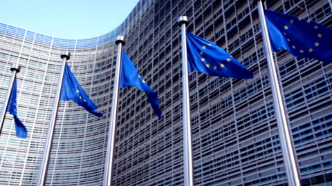 european union flags - parliament building stock videos & royalty-free footage