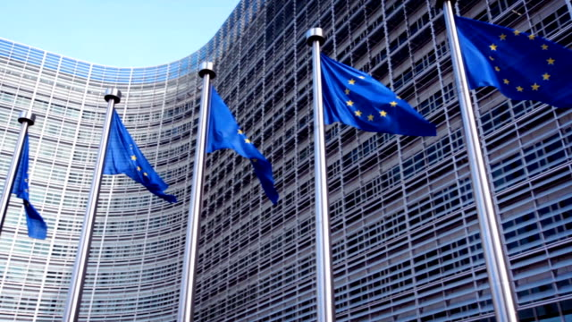 european union flags - man made object stock videos & royalty-free footage