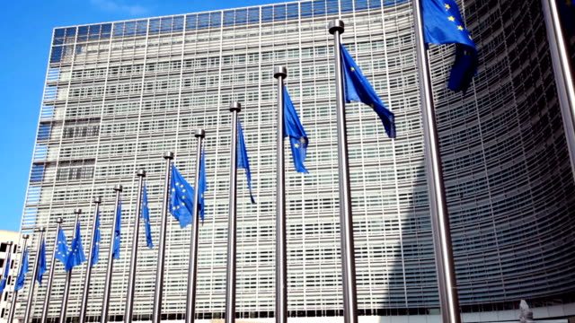 european union flags - city of brussels stock videos and b-roll footage