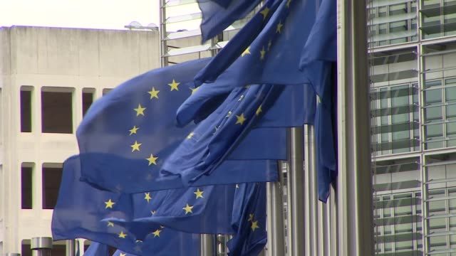 european union flags waving in the wind - eu flag stock videos & royalty-free footage