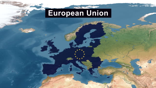 European Union Map with European Union Flag, zoom in to European Union terrain map from wide perspective view