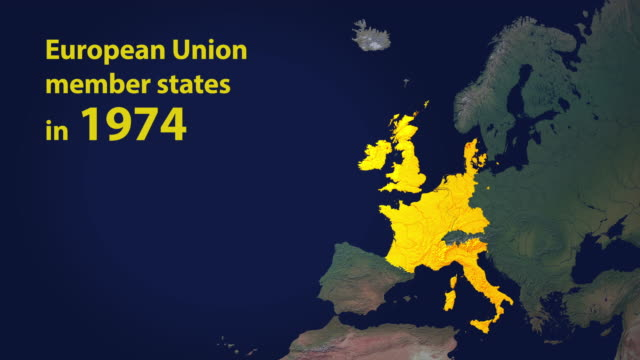 european union member states in 7 stages including brexit with year counter - european union stock videos and b-roll footage