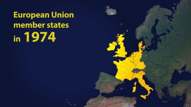 European Union member states with borders in 7 stages including Brexit with year counter