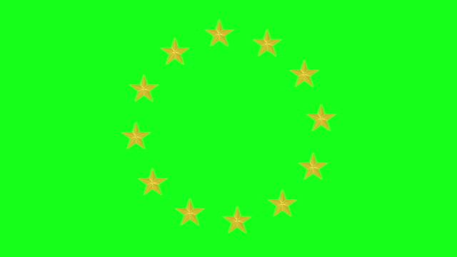 European Union Stars Animation on Green Screen BG