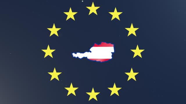 europäische gewerkschafts-stars mit umrissen von österreich und nationalflagge - austria flag stock-videos und b-roll-filmmaterial