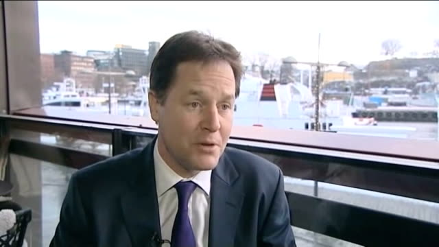 european union wins nobel peace prize oslo nick clegg mp interview sot the more you think about it the more i think it's not a bad thing from time to... - ノーベル平和賞点の映像素材/bロール