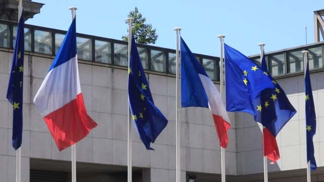 europeans and french flags wave in the french ministry of economy and finance courtyard on july 22 2020 in paris france after the covid19 crisis the... - politics illustration stock videos & royalty-free footage