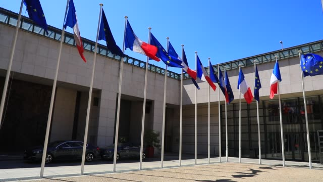 europeans and french flags wave in the french ministry of economy and finance courtyard on july 22 2020 in paris france after the covid19 crisis the... - french flag stock videos & royalty-free footage