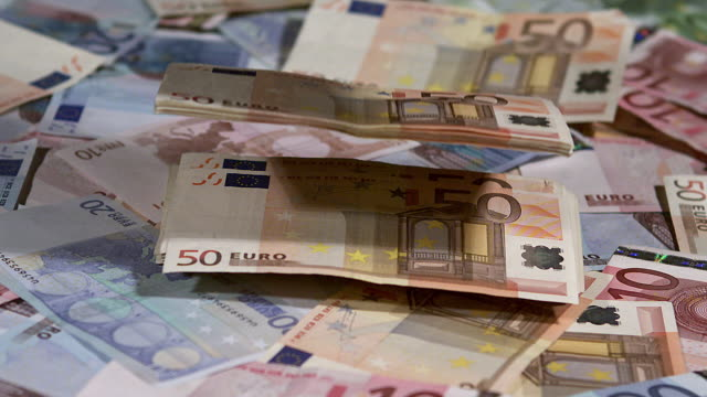 50 euros banknotes falling on money, slow motion - valuta video stock e b–roll