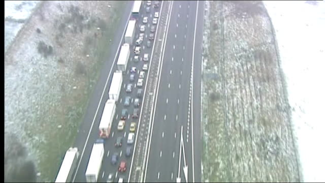 eurostar cancels services following train breakdowns kent view / aerial traffic jam on m20 motorway leading to dover - eurostar stock-videos und b-roll-filmmaterial