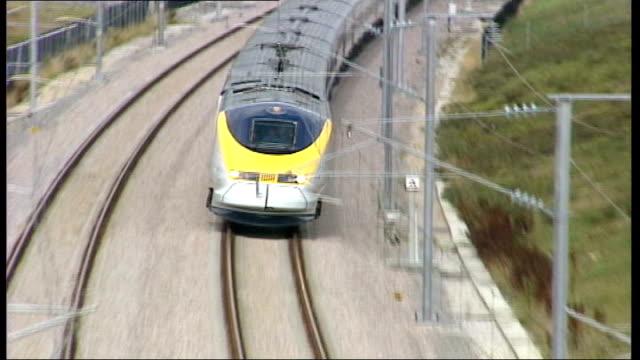 latest developments in highspeed rail link tx eurostar along at speed pull out - eurostar stock-videos und b-roll-filmmaterial
