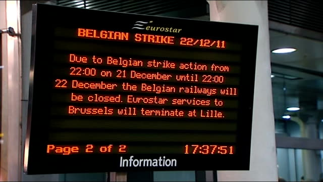 Eurostar rail services disrupted by Belgian strike action ENGLAND London St Pancras International INT Eurostar passengers with luggage along through...