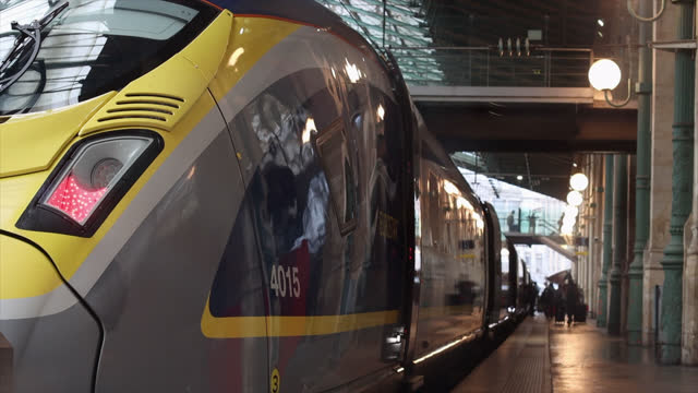 eurostar train departs from gare du nord to st pancras international station in london, uk, during coronavirus , in paris. on january 28, 2021 in... - 4k resolution stock videos & royalty-free footage