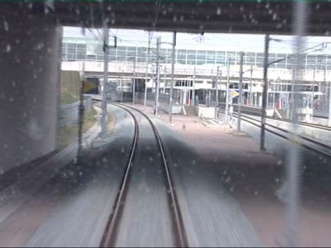 eurostar train sets new record for london to paris journey time driver point of view rail track track eurostar highspeed train along rail track - 2007 stock videos and b-roll footage
