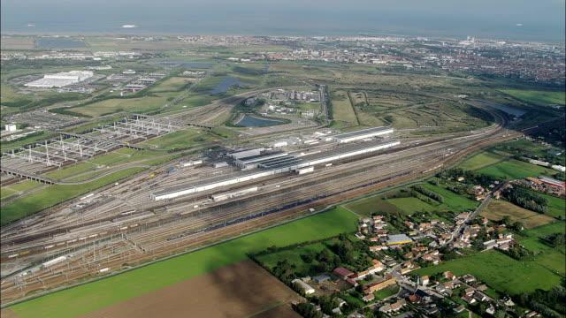 eurotunnel terminal - aerial view - nord-pas-de-calais, pas-de-calais, arrondissement de calais, france - calais stock videos & royalty-free footage