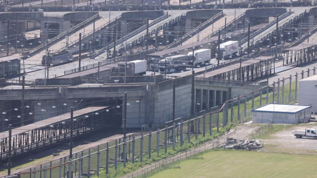 eurotunnel terminal in folkestone and port of dover, freight transportation in dover, kent, u.k., on tuesday, june 1, 2021. - motorway junction stock videos & royalty-free footage