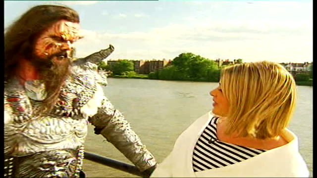 eurovision song contest winners 'lordi' interview; england: london: ext sylvester i/c mr lordi interview sot - we aren't really aware of the media... - eurovision song contest stock videos & royalty-free footage
