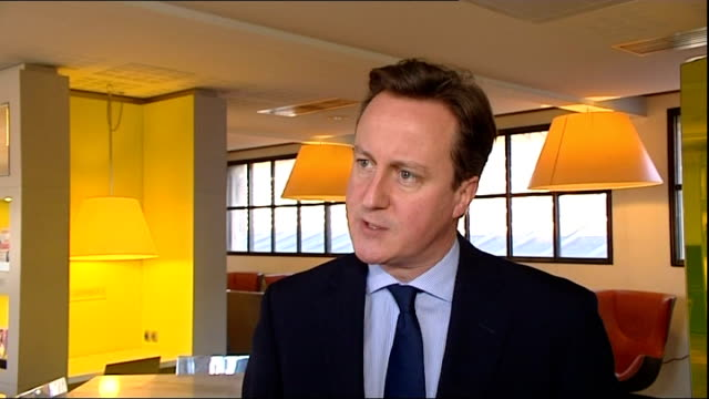 fiscal union plan / david cameron interview and departing gare du nord; france: paris: gare du nord: int david cameron mp interview sot - - )re... - 説得点の映像素材/bロール
