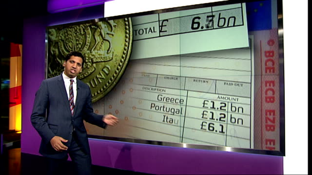 Bank of England governor warns of possible collapse of euro INT Reporter to camera in front of videowall