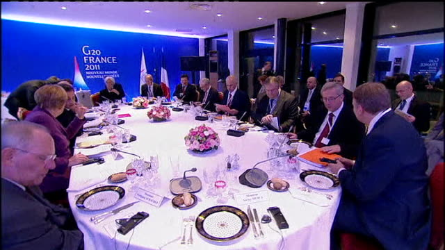 greek referendum on bailout terms scrapped france cannes photography ** european leaders sitting round dinner table at g20 summit meeting including... - g20 leaders' summit stock videos & royalty-free footage