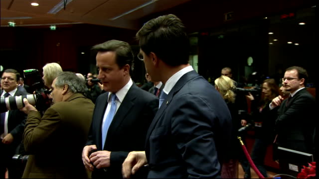 Nick Clegg condemns government decision to reject Eurozone deal LIB BELGIUM Brussels INT David Cameron MP at European Union summit