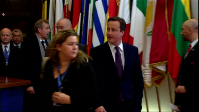 Nick Clegg condemns government decision to reject Eurozone deal LIB BELGIUM Brussels Cameron and Hague arriving at EU summit with others