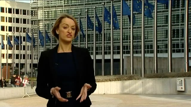 share prices soar after leaders agree deal belgium brussels ext reporter to camera - laura kuenssberg stock-videos und b-roll-filmmaterial