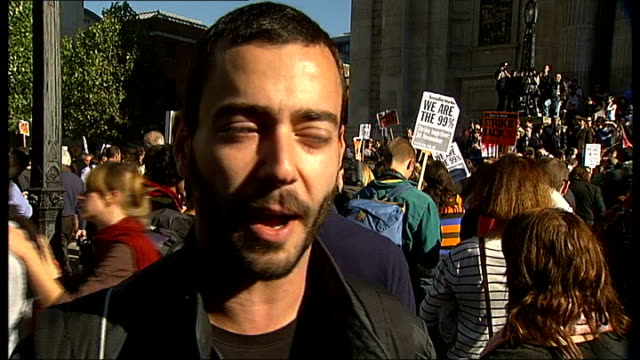 world wide protests / g20 meeting england london the city of london spyro van leemnen interview sot people responsible for this crisis are not paying... - founder stock videos and b-roll footage